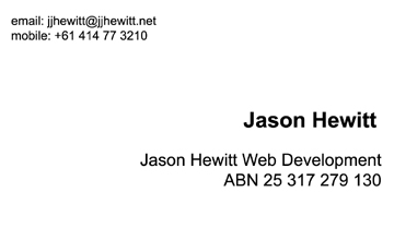 Jason Hewitt - Business Card